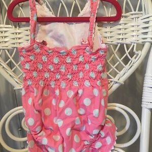 Lime Green Swim - Girls 4T pink and blue polka dot swimsuit